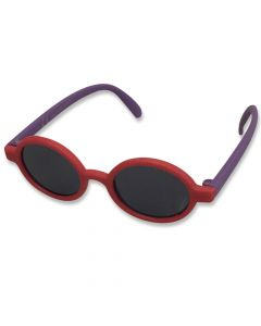 Børne solbrille blød rund rød