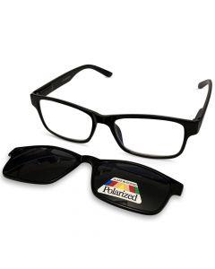 Sort læsebrille med solbrille