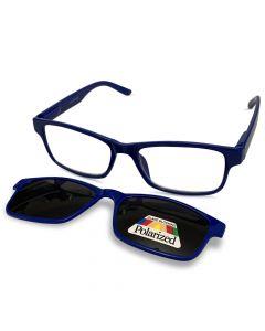 Læsebrille m/solbrille Blå +2.5 / 250-051