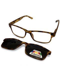 Brun læsebrille med solbrille