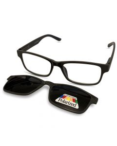 Læsebrille grå med solbrille klap
