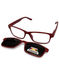 Læsebrille med solbrille rød